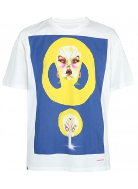 CHARLES JEFFERY LOVERBOY ARTWORK TEE WHITE WITH BLUE