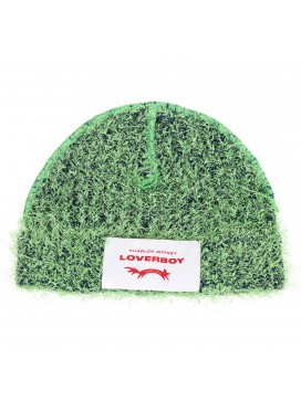 CHARLES JEFFERY LOVERBOY WOOL GREEN HAT WITH LEATHER LOGO PATCH