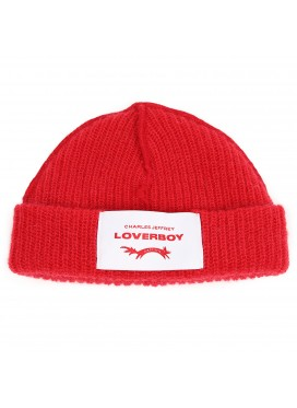 CHARLES JEFFERY LOVERBOY WOOL RED HAT WITH LEATHER LOGO PATCH