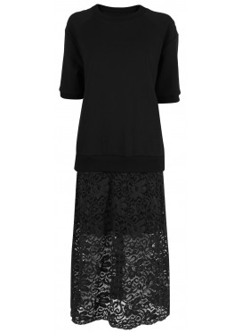 SUE UNDERCOVER BLACK PRINT DRESS WITH LACE