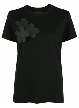 MELITTA BAUMEISTER BLACK TEE WITH APPLIQUE