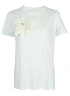 MELITTA BAUMEISTER WHITE TEE WITH APPLIQUE