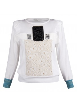 TOGA ARCHIVES Multi Appliqué Sweater - white