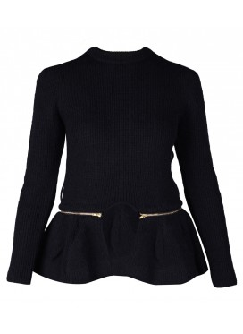 TOGA ARCHIVES Detachable Peplum Wool Jumper - black