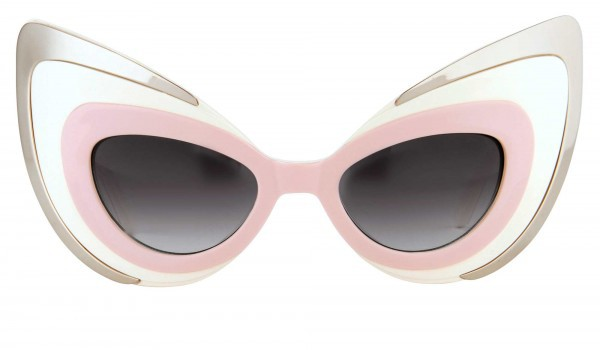 LINDA FARROW - LINDA FARROW+AGENT PROVOCATEUR 67 C3 'Want me' Cat-eye Mask Sunglasses - pink