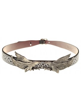 TOGA PULLA Tribal Embroidery Double Eagle Leather Belt - black